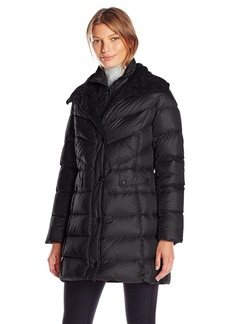 Kenneth Cole Women's Puffer Coat with Faux Shearling Collar