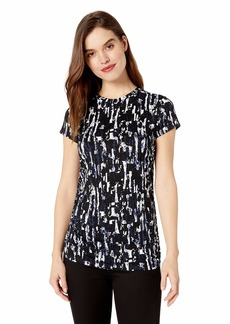 Kenneth Cole Women's Ruched Knit TOP  L