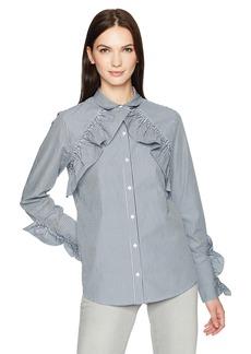 Kenneth Cole Women's Ruffle Detail Poplin Shirt  L