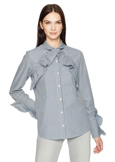 Kenneth Cole Women's Ruffle Detail Poplin Shirt  M