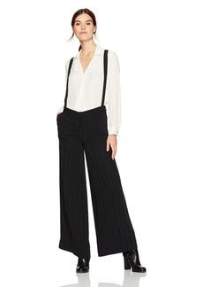 Kenneth Cole Women's Satin Stripe Wide Leg Suspender Trouser