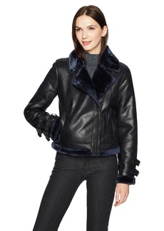 Kenneth Cole Women's Shearling Moto Jacket  Extra Small