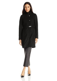 Kenneth Cole Women's Single Breasted Wool Coat with Buckle Closure