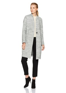 Kenneth Cole Women's Space Dyed Scuba Long Walker Jacket with Oversized Button  L