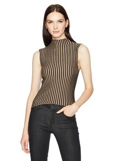 Kenneth Cole Women's Striped Mock Sweater