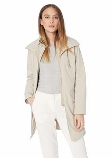 Kenneth Cole Women's Thigh Length Zip rain Jacket with stoweaway Hood in Collar