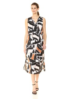 Kenneth Cole Women's Triple Tie Column Dress Embrd Shapes-Blk L