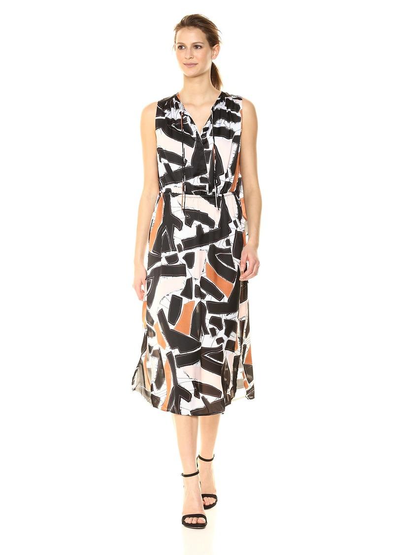 Kenneth Cole Women's Triple Tie Column Dress Embrd Shapes-Blk M