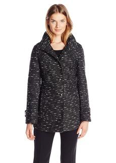Kenneth Cole Women's Tweed Wool Coat with Hood  Medium
