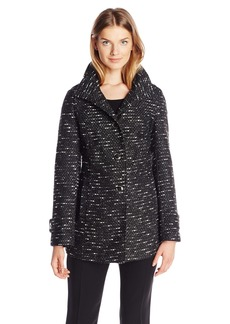 Kenneth Cole Women's Tweed Wool Coat With Hood  Small