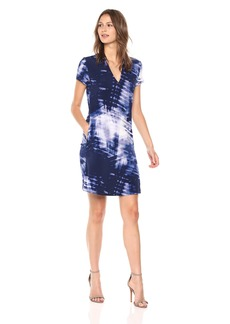 Kenneth Cole Women's V-Neck Dress with Pockets Mood Indigo/Blue cm L