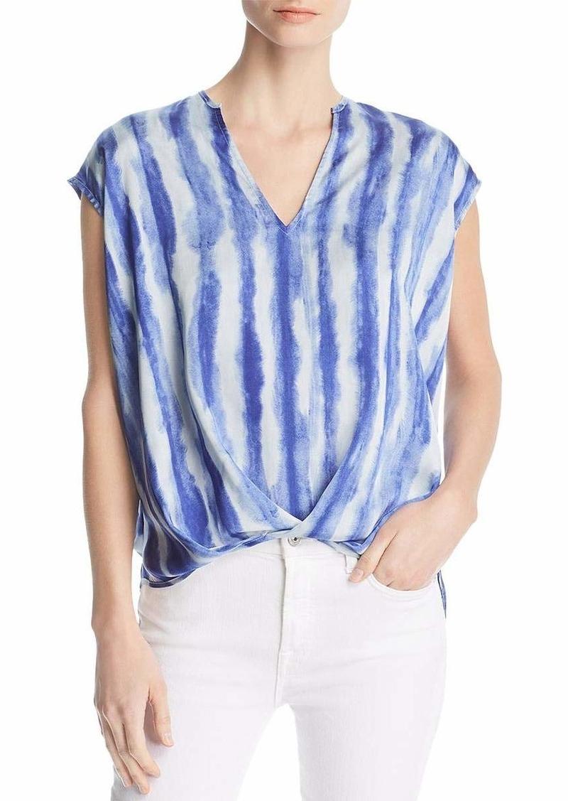 KENNETH COLE Women's V-Neck High-Low Hem Top tie dye Pleat/Blue L