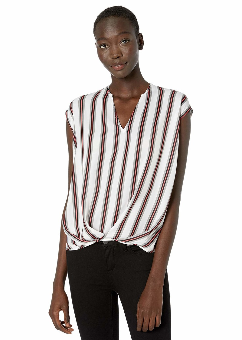 KENNETH COLE Women's V-Neck HIGH-Low TOP REP VSTRIPE White L