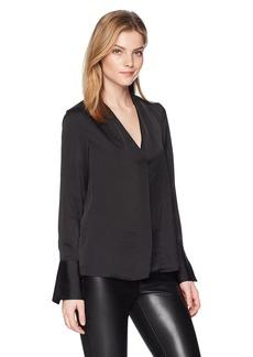 Kenneth Cole Women's V-Neck Long Sleeve Blouse  L