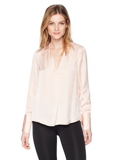Kenneth Cole Women's V-Neck Long Sleeve Blouse Peachy keen XL