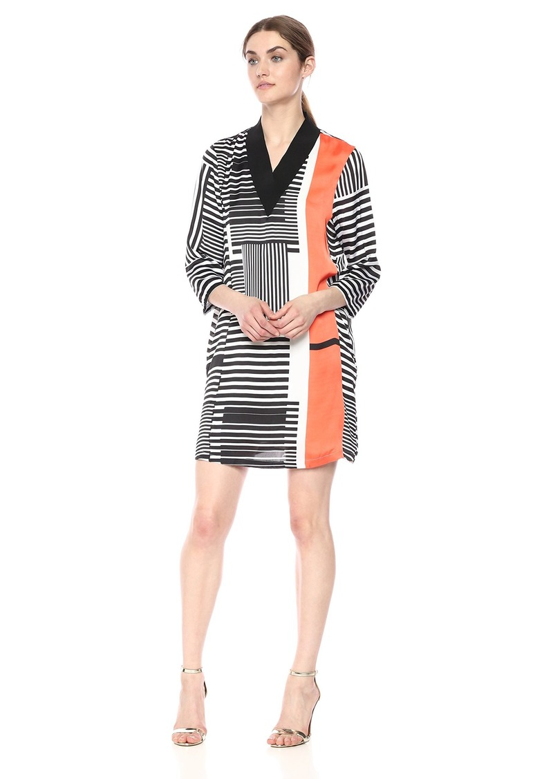 Kenneth Cole Women's V-Neck Ribbed Dress Pop STRP-Mndrn Red XS