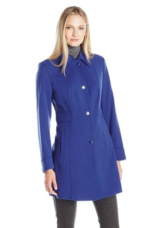 Kenneth Cole Women's Waist Detail Oxford Ponte Coat