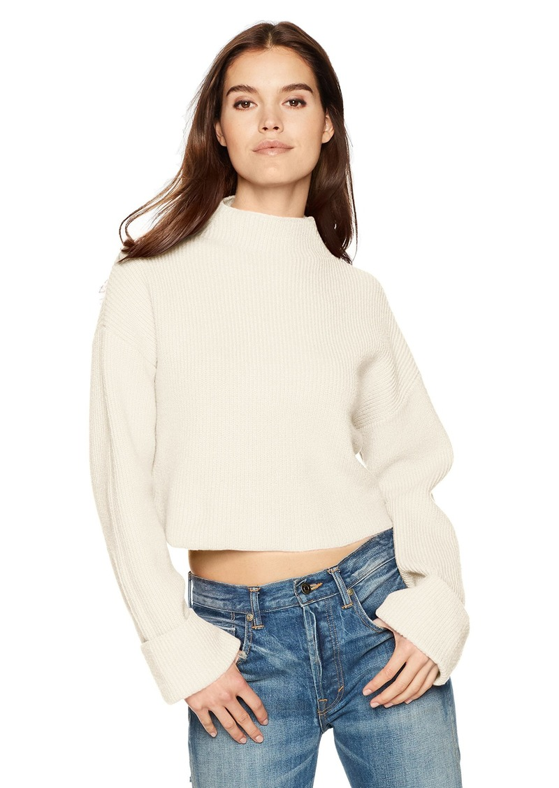 Kenneth Cole Women's Wide Cuff Mock Neck Sweater el Cream L