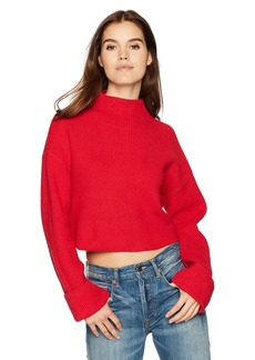 Kenneth Cole Women's Wide Cuff Mock Neck Sweater Patriot red L