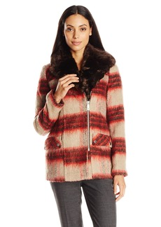 Kenneth Cole Women's Wool Coat with Faux Fur Collar  Large