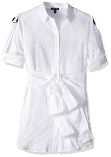 Kenneth Cole Women's Wrap Button Down Tunic  L
