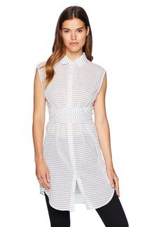 Kenneth Cole Women's Wrap Button Down Tunic top Stripe/White M