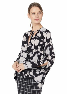 Kenneth Cole Women's Wrapped Front Flouncy Sleeve TOP Soft Focus FL BLK L