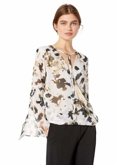 Kenneth Cole Women's Wrapped Front Flouncy Sleeve TOP URB CAMOFLGE-Multi S