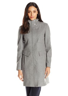 Kenneth Cole Women's Zip-Front Wool-Blend Coat With Pockets