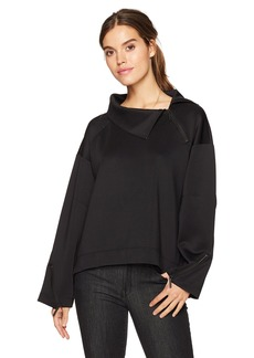 Kenneth Cole Women's Zip Funnel Neck Sweatshirt  L