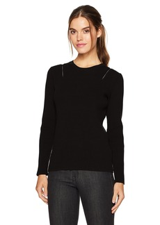 Kenneth Cole Women's Zip Shoulder Ribbed Sweater  M