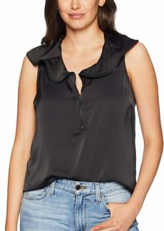 KENNETH COLE Women's Zipped Front Flouncy SLV TOP  L