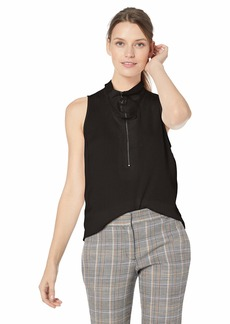 Kenneth Cole Women's Zipped Front Flouncy SLV TOP  M