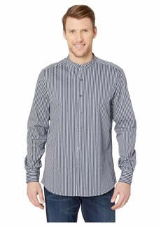 Kenneth Cole Long Sleeve Band Collar Dobby Stripe