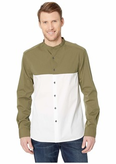 Kenneth Cole Long Sleeve Color Block Collarband