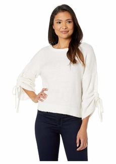 Kenneth Cole Long Sleeve Cropped Boat Neck w/ Gathered Sleeves Top