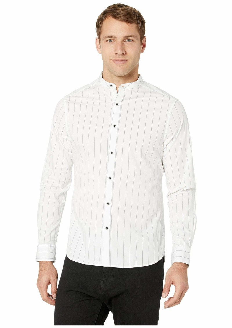 Kenneth Cole Long Sleeve Pinstripe Collarband Shirt