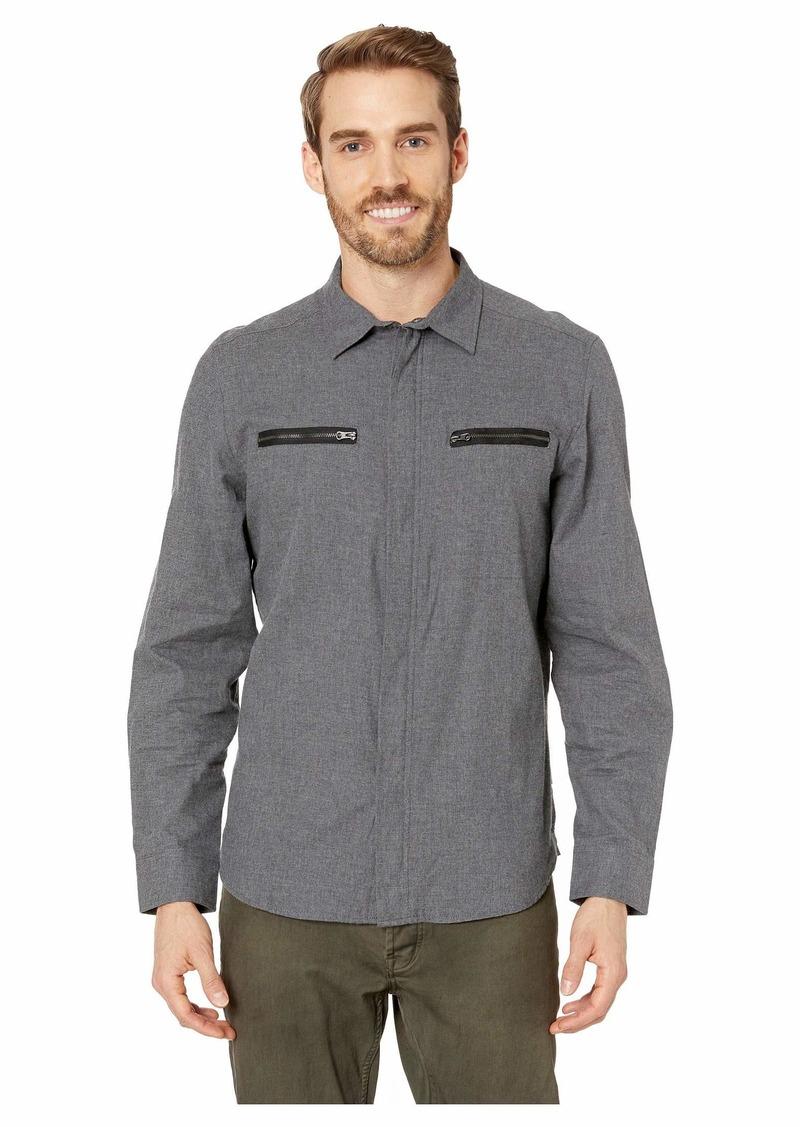 Kenneth Cole Long Sleeve Zipper Pocket Solid Shirt