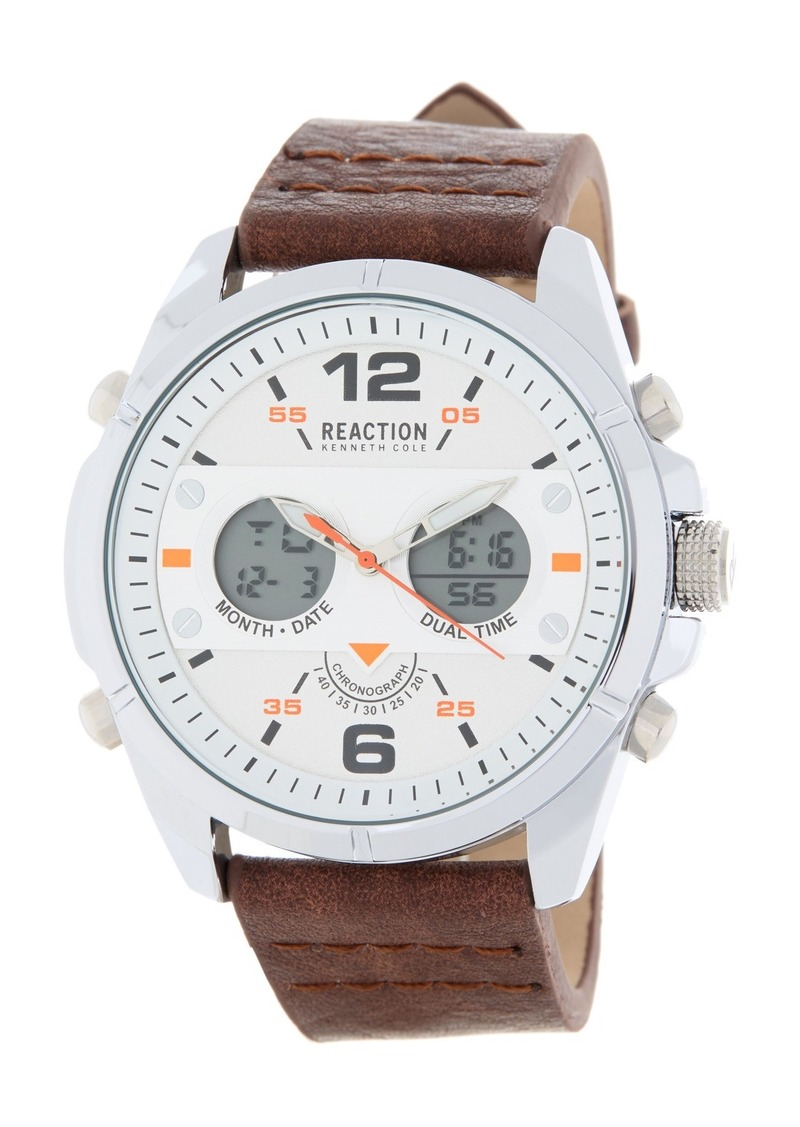 Kenneth Cole Men's Analog Digital Faux Leather Strap Watch, 46mm