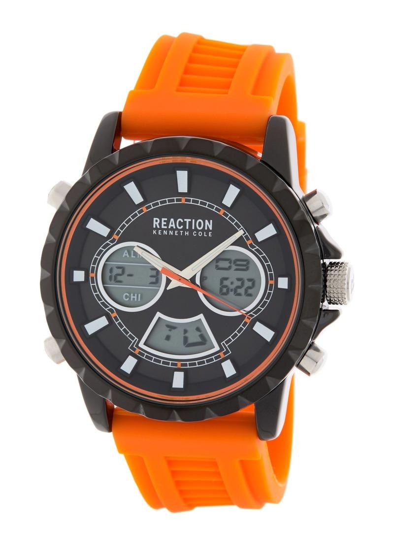 Kenneth Cole Men's Analog Digital Silicone Strap Watch, 46mm