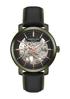 Kenneth Cole Men's Automatic Leather Strap Watch, 42.5mm