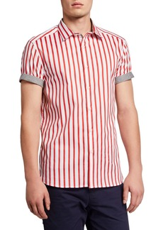 Kenneth Cole Men's Bold Stripe Stretch-Cotton Sport Shirt