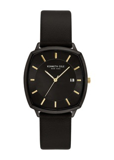Kenneth Cole Men's Classic 3-Hand Black Gold-Tone Dail Leather Strap Watch, 36mm