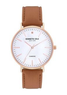 Kenneth Cole Men's Classic 3-Hand Diamond Leather Strap Watch, 42mm - 0.005 ctw
