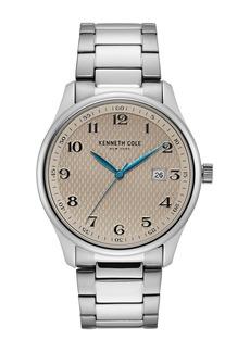 Kenneth Cole Men's Classic 3-Hand Silver-Tone Bracelet Watch, 42mm