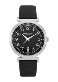 Kenneth Cole Men's Classic Faux Leather Strap Watch, 42mm