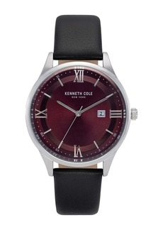 Kenneth Cole Men's Classic Leather Strap Watch, 44mm