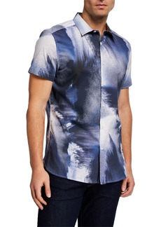 Kenneth Cole Men's Crashing Water Print Sport Shirt