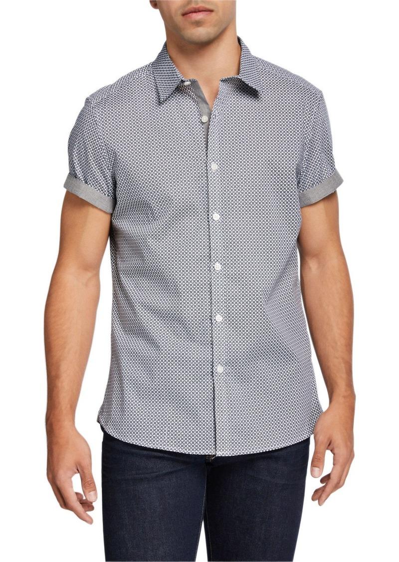 Kenneth Cole Men's Diamond Print Short-Sleeve Shirt