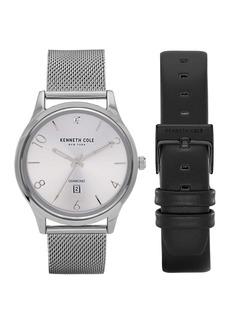 Kenneth Cole Men's Diamond Quartz Leather & Mesh Interchangeable Strap Watch, 44mm - 0.005 ctw